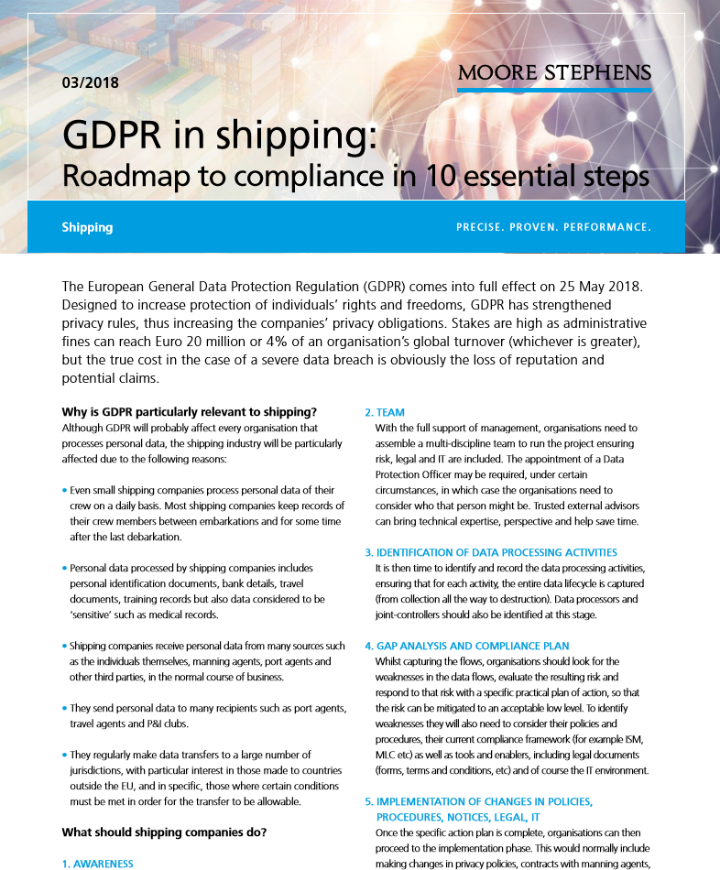 GDPR in shipping: Roadmap to compliance in 10 essential steps